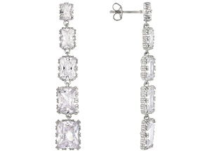 White Cubic Zirconia Rhodium Over Sterling Silver Earrings 29.28ctw