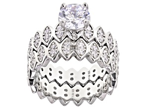 White Cubic Zirconia Rhodium Over Sterling Silver Ring With Band 4.46ctw