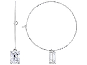 White Cubic Zirconia Rhodium Over Sterling Silver Hoop Earrings 5.00ctw