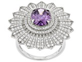 Purple And White Cubic Zirconia Rhodium Over Sterling Silver Ring 6.32ctw
