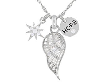 Picture of White Cubic Zirconia Rhodium Over Sterling Silver Inspirational Pendant With Chain 1.37ctw