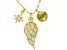 White Cubic Zirconia 18K Yellow Gold Over Sterling Silver Inspirational Pendant With Chain 1.37ctw