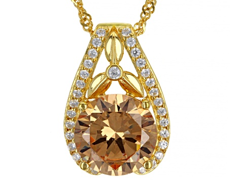 Champagne And White Cubic Zirconia 18K Yellow Gold Over Silver Pendant With Chain And Earrings