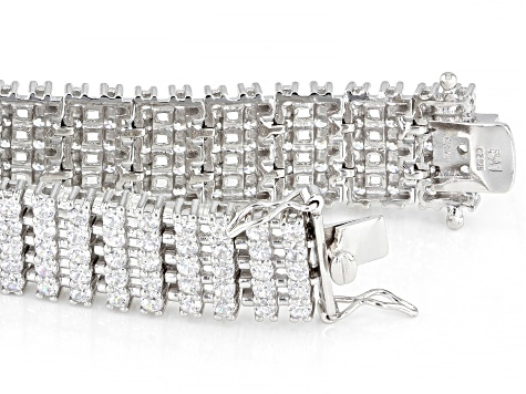 White Cubic Zirconia Rhodium Over Sterling Silver Tennis Bracelet 19.58ctw