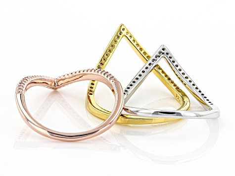 White Cubic Zirconia Rhodium And 18K Yellow And Rose Gold Over Sterling Silver Band Rings Set of 3