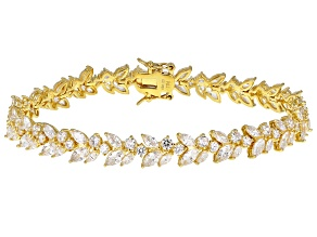 White Cubic Zirconia 18K Yellow Gold Over Sterling Silver Tennis Bracelet 20.75ctw