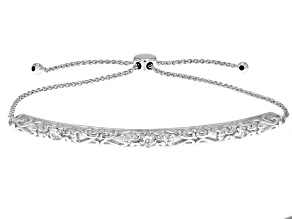 White Cubic Zirconia Rhodium Over Sterling Silver Adjustable Bracelet 0.32ctw