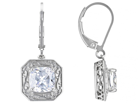 White Cubic Zirconia Rhodium Over Sterling Silver Earrings 5.16ctw