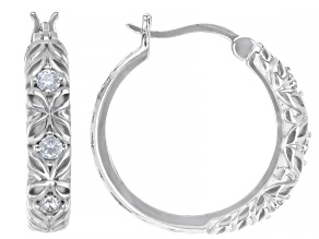 White Cubic Zirconia Rhodium Over Sterling Silver Hoop Earrings 0.64ctw