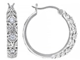 White Cubic Zirconia Rhodium Over Sterling Silver Hoop Earrings 0.64ctw