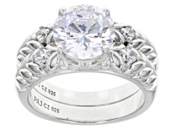 Picture of White Cubic Zirconia Rhodium Over Sterling Silver Ring With Band 4.57ctw