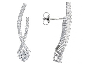White Cubic Zirconia Rhodium Over Sterling Silver Earrings 3.02ctw