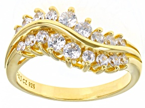 White Cubic Zirconia 18K Yellow Gold Over Sterling Silver Ring 1.59ctw