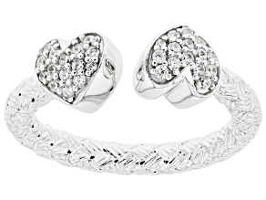 White Cubic Zirconia Rhodium Over Sterling Silver Heart Band Ring 0.44ctw