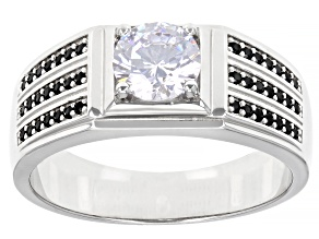 White Cubic Zirconia And Black Spinel Rhodium Over Sterling Silver Men's Ring 1.97ctw