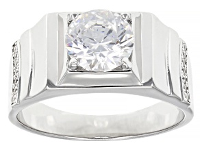 White Cubic Zirconia Rhodium Over Sterling Silver Men's Ring 3.47ctw