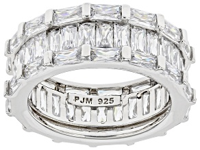 White Cubic Zirconia Rhodium Over Sterling Silver Band Ring 10.79ctw