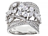 White Cubic Zirconia Rhodium Over Sterling Silver Ring 5.26ctw
