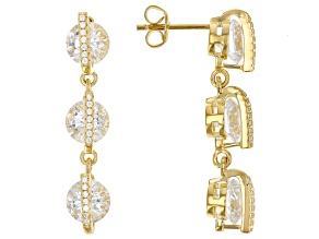 White Cubic Zirconia 18K Yellow Gold Over Sterling Silver Earrings 13.79ctw