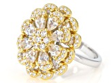 White Cubic Zirconia Rhodium And 18K Yellow Gold Over Sterling Silver Ring 5.82ctw