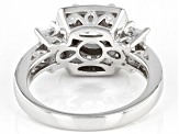 White Cubic Zirconia Rhodium Over Sterling Silver Ring 3.40ctw