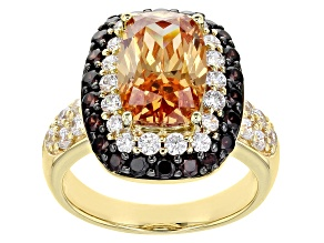 Champagne, Mocha, And White Cubic Zirconia 18K Yellow Gold Over Sterling Silver Ring 8.52ctw