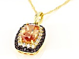 Champagne, Mocha, And White Cubic Zirconia 18K Yellow Gold Over Sterling Silver Pendant With Chain