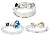 Multicolor Cubic Zirconia And Blue Lab Created Sapphire Rhodium Over Silver Ring Set of 3 2.72ctw
