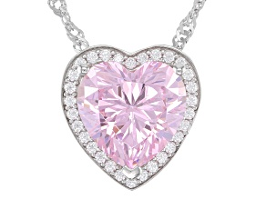 Pink And White Cubic Zirconia Rhodium Over Sterling Silver Heart Pendant With Chain 7.11ctw