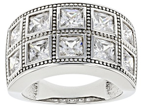 White Cubic Zirconia Platinum Over Sterling Silver Ring 6.60ctw