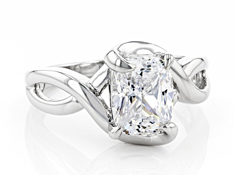 White Cubic Zirconia Rhodium Over Sterling Silver Ring 3.29ctw