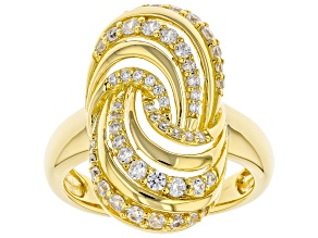 White Cubic Zirconia 18K Yellow Gold Over Sterling Silver Ring 1.05ctw