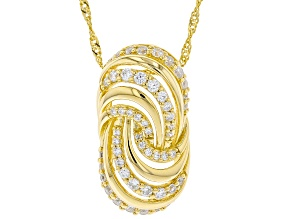 White Cubic Zirconia 18K Yellow Gold Over Sterling Silver Pendant With Chain 1.05ctw