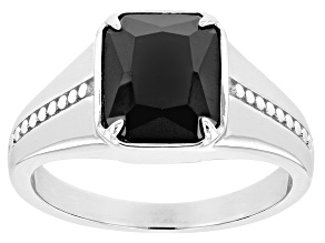 Black Cubic Zirconia Rhodium Over Sterling Silver Men's Ring 7.37ctw