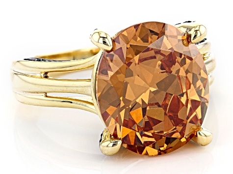 Champagne And Mocha Cubic Zirconia 18K Yellow Gold Over Sterling Silver Ring 14.96ctw