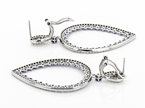 Lab Created Blue Spinel And White Cubic Zirconia Rhodium Over Sterling Silver Earrings 5.45ctw