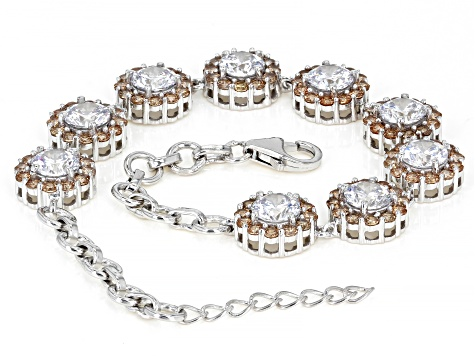 Champagne And White Cubic Zirconia Rhodium Over Sterling Silver Bracelet 19.43ctw