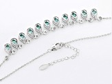 Lab Green Spinel And White Cubic Zirconia Rhodium Over Sterling Silver Necklace 7.05ctw