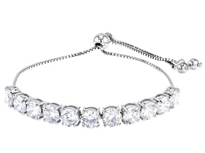 White Cubic Zirconia Rhodium Over Sterling Silver Adjustable Bracelet 15.90ctw
