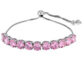 Pink Cubic Zirconia Rhodium Over Sterling Silver Adjustable Bracelet 15.90ctw