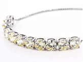 Yellow Cubic Zirconia Rhodium Over Sterling Silver Adjustable Bracelet 15.90ctw