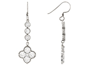 White Cubic Zirconia Rhodium Over Sterling Silver Flower Drop Earrings 8.29ctw
