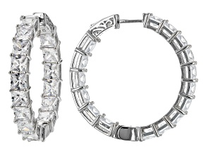 White Cubic Zirconia Rhodium Over Sterling Silver Hoop Earrings 35.20ctw