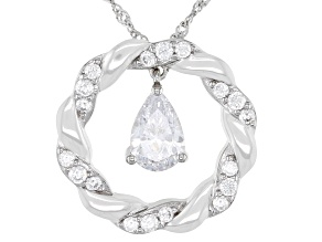 White Cubic Zirconia Platinum Over Sterling Silver Pendant With Chain 3.33ctw