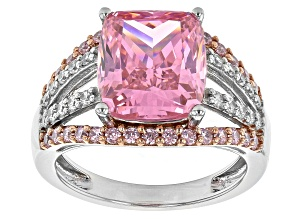Pink And White Cubic Zirconia Rhodium And 14K Rose Gold Over Sterling Silver Ring 11.32ctw