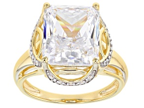 White Cubic Zirconia Rhodium And 18K Yellow Gold Over Sterling Silver Ring 12.04ctw