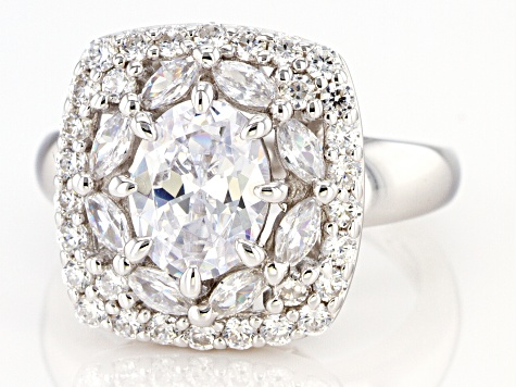 White Cubic Zirconia Rhodium Over Sterling Silver Ring 5.46ctw