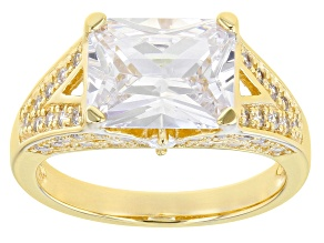 White Cubic Zirconia 18K Yellow Gold Over Sterling Silver Ring 7.29ctw