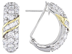 White Cubic Zirconia Rhodium And 14K Yellow Gold Over Sterling Silver Earrings 7.42ctw