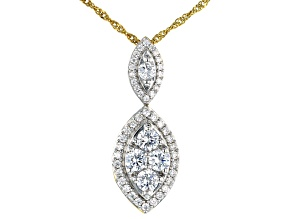 White Cubic Zirconia Rhodium And 18K Yellow Gold Over Sterling Silver Pendant With Chain 2.76ctw